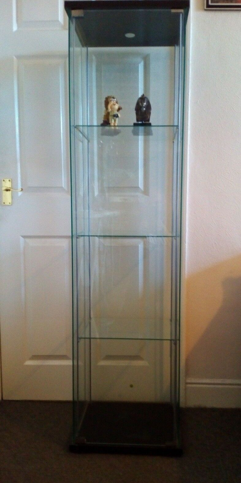 Ikea Detolf Glass Door Display Cabinet Black Brown 3 Shelf 3000