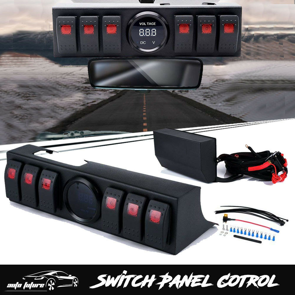 6 Rocker Switch Panel Cotrol Bracket With Digital Voltmeter Jeep Wrangler Jk Dash Switches Jku 1 Of 8free Shipping See More