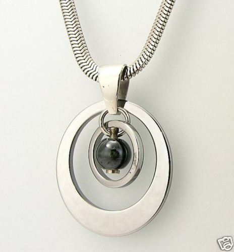 tungsten carbide s circle necklace with snake chain
