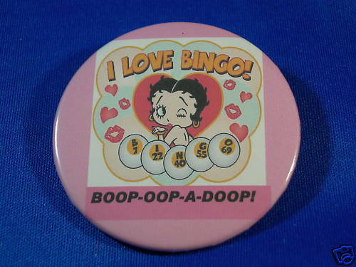 "BOOP OOP A DOOP ""I LOVE BINGO"" Button pin pinback badge"