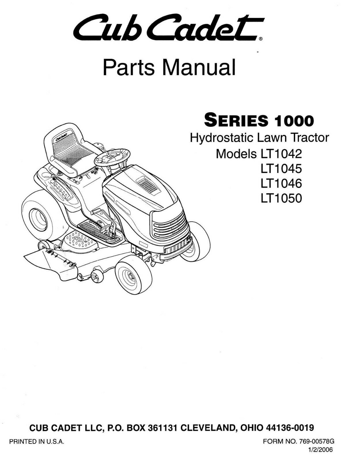Cub Cadet LT1042 LT1045 LT1046 LT1050 Lawn Tractor / Mower PARTS Manual 1  of 1Only 3 available ...
