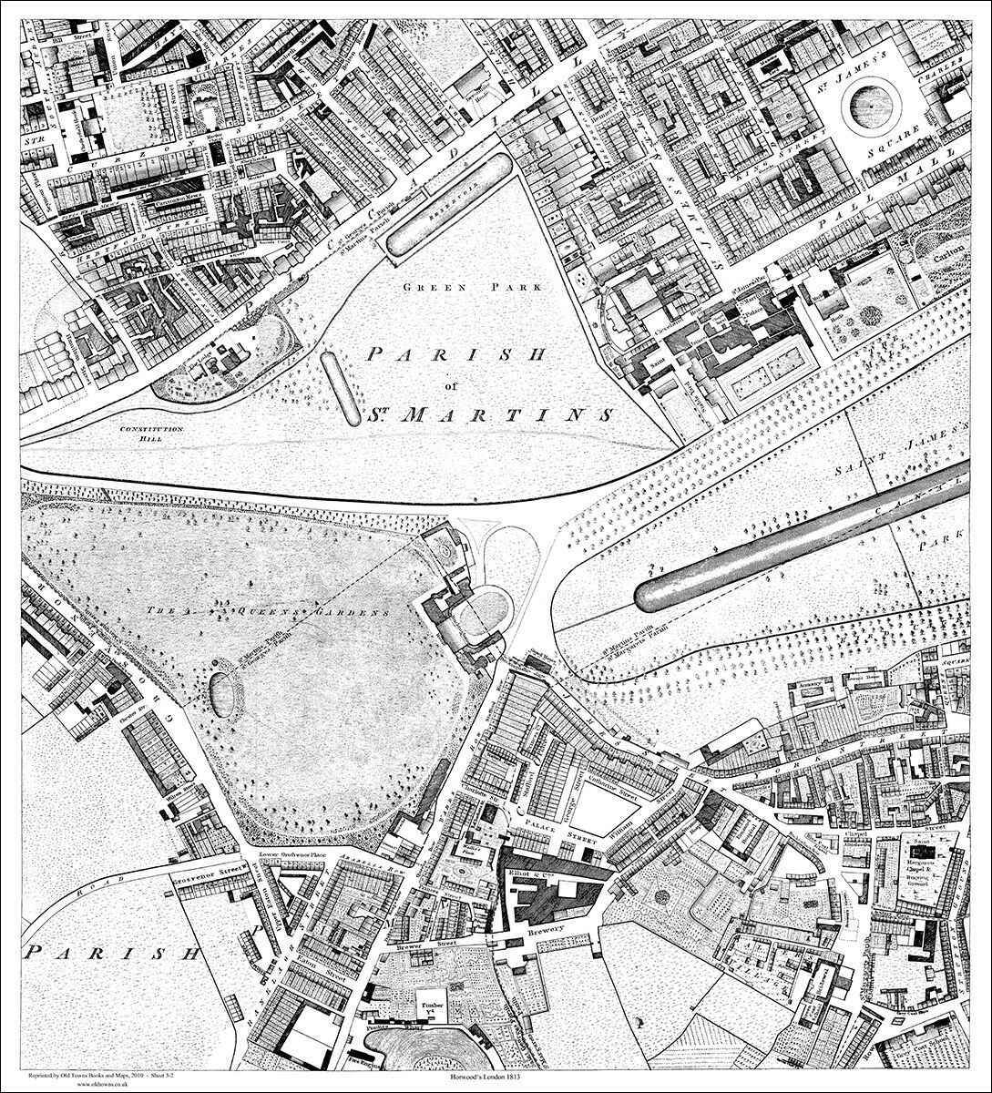 Covent Garden repro old London map 1813 Strand 2-3