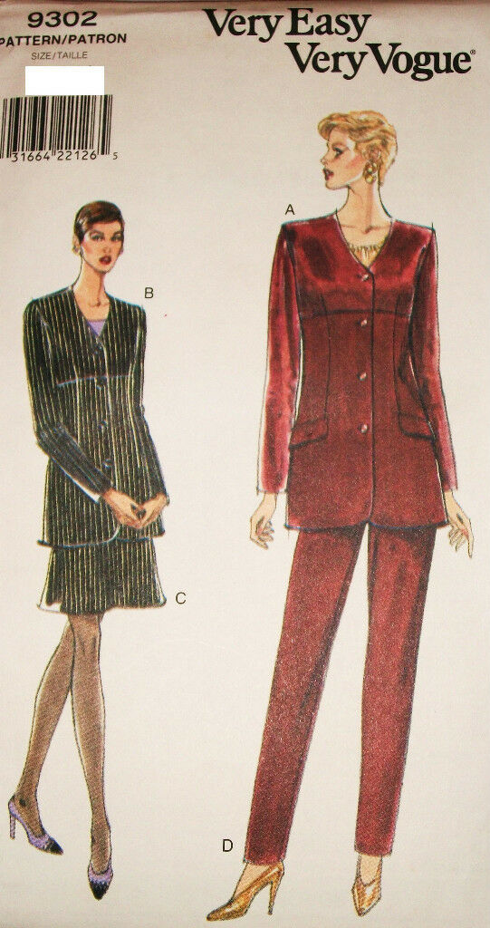 Misses Vogue Sewing Pattern 9302 UNCUT Very Easy Jacket Skirt Pants Size 6-8-10