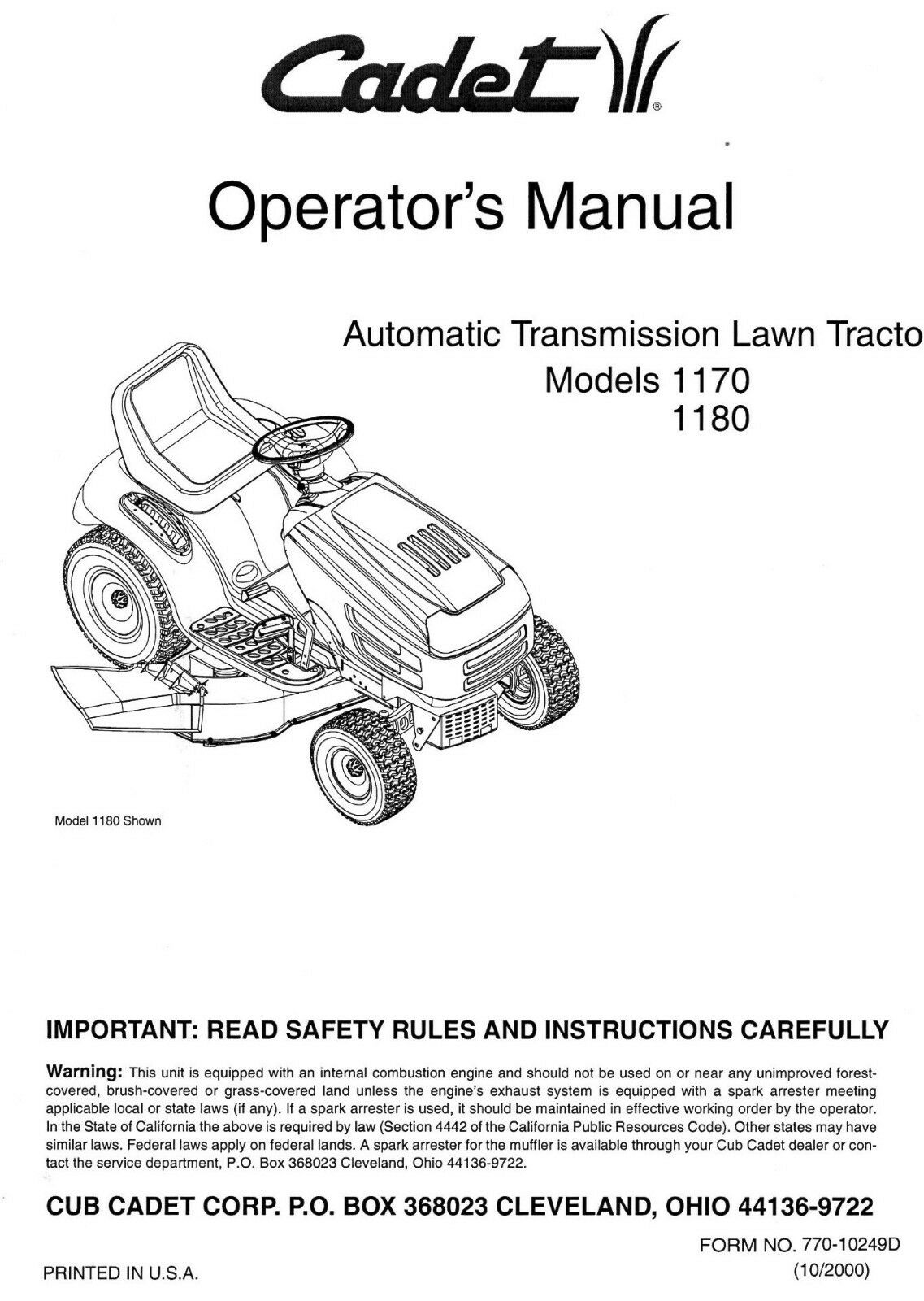 Cub Cadet 1170 1180 Automatic Transmission Tractor Operators and Parts  Manual 1 of 4FREE Shipping ...