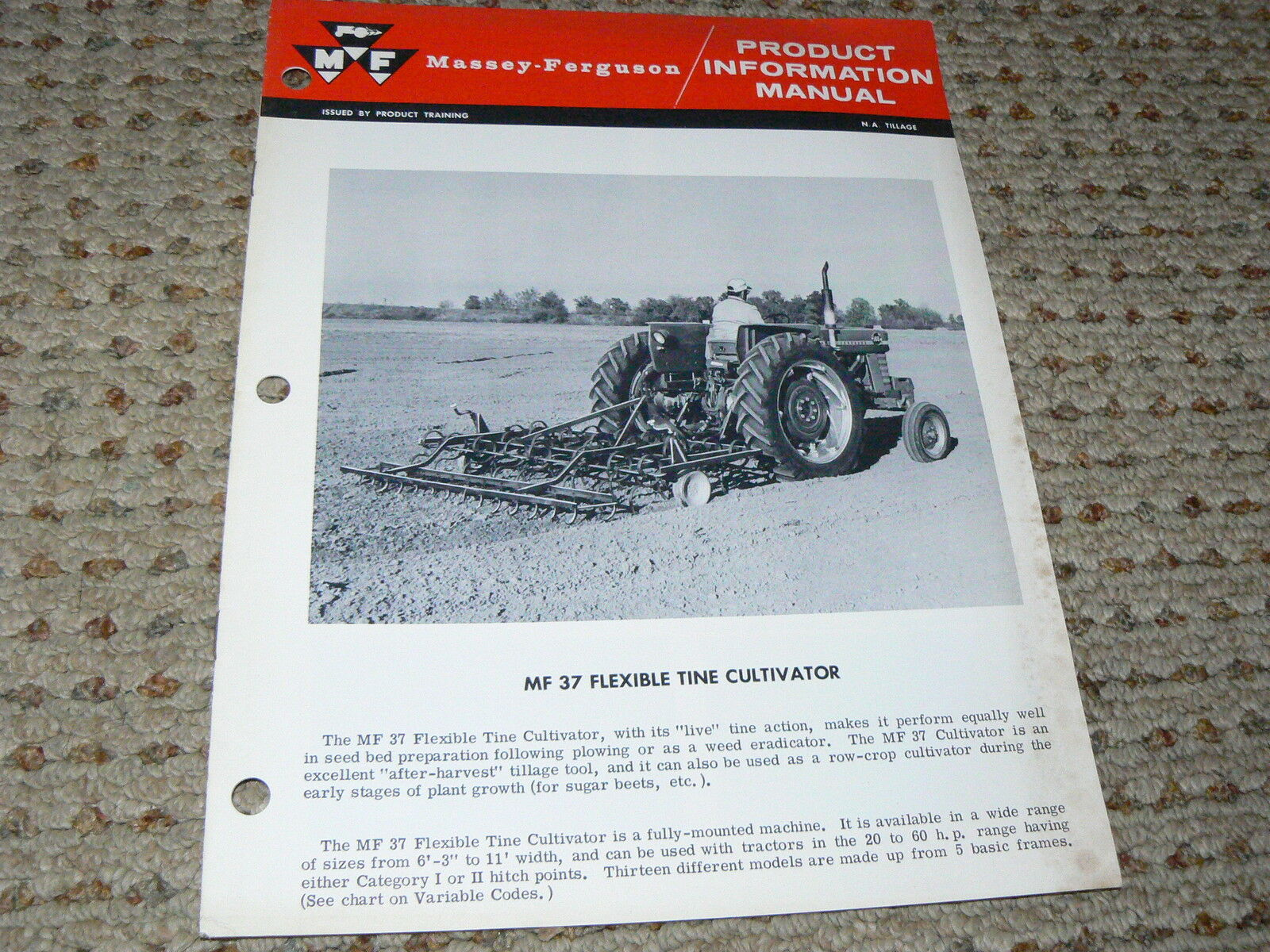 Massey Ferguson 37 Flexible Tine Cultivator Product Information Manual 1 of  1Only 2 available ...