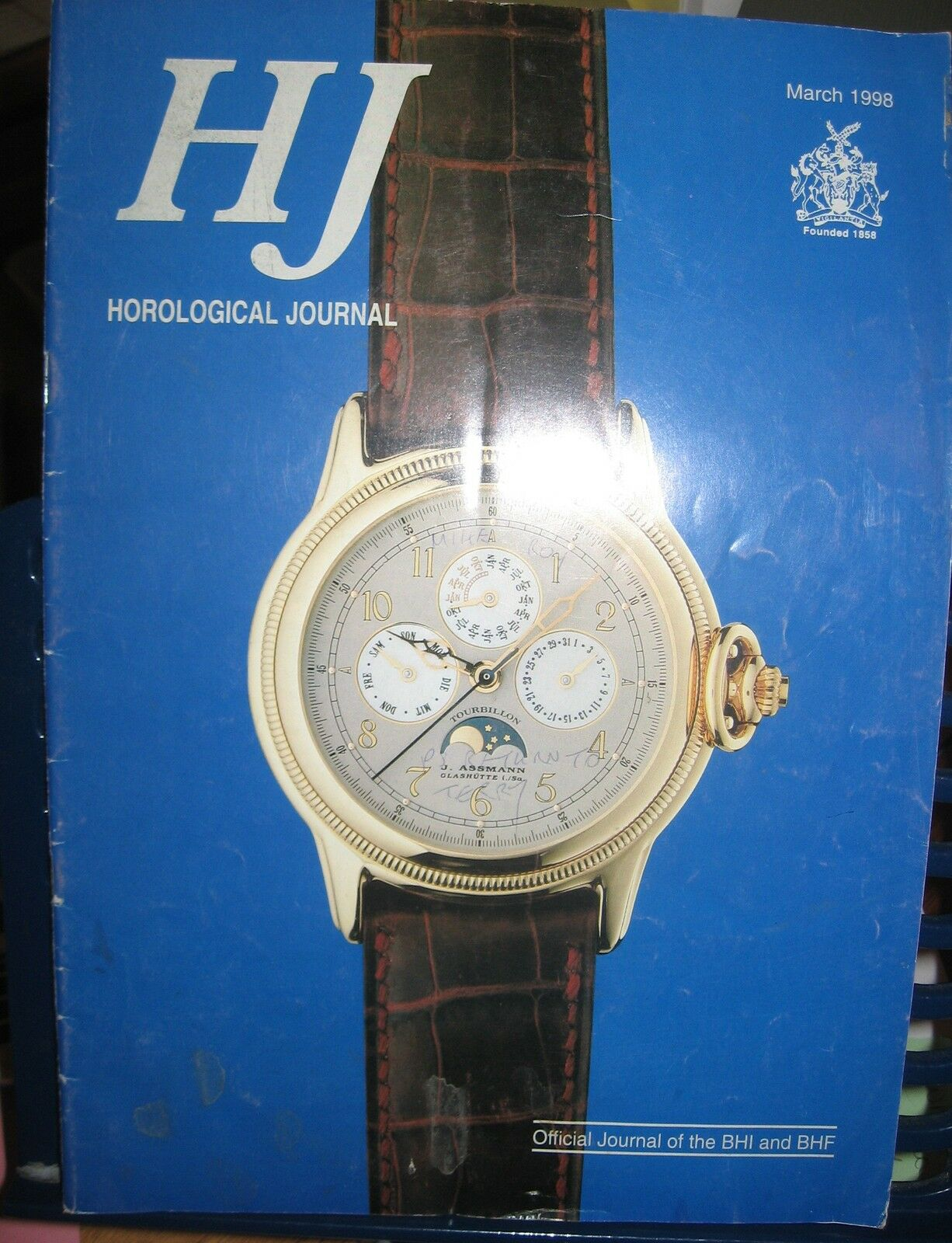 Horological Journal  March 1998 - Official Journal of the BHI and BHF