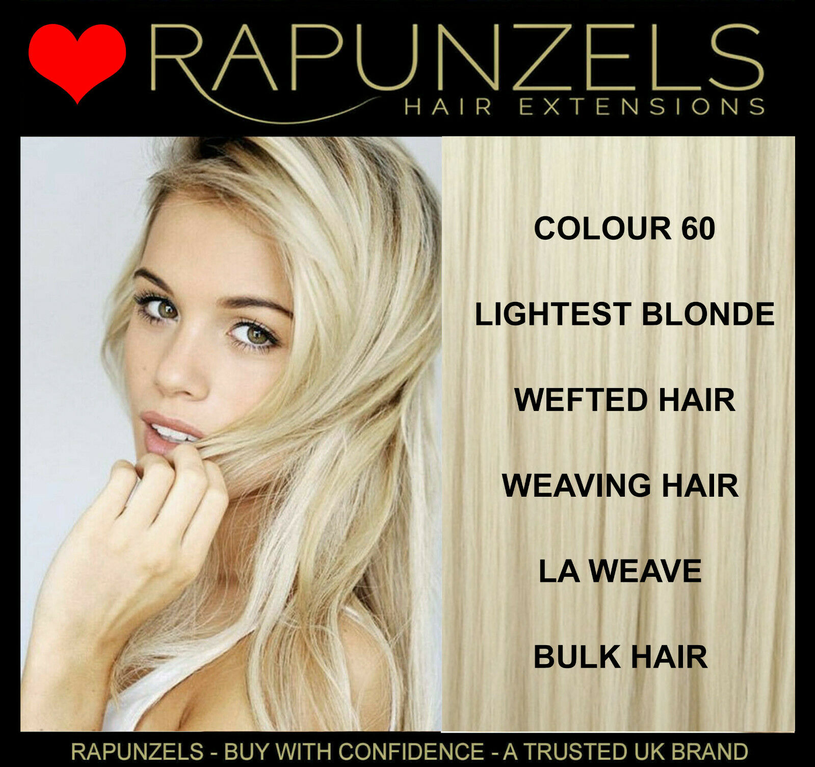 Platinum Blonde Lightest Blonde Rapunzels Human Hair Extensions