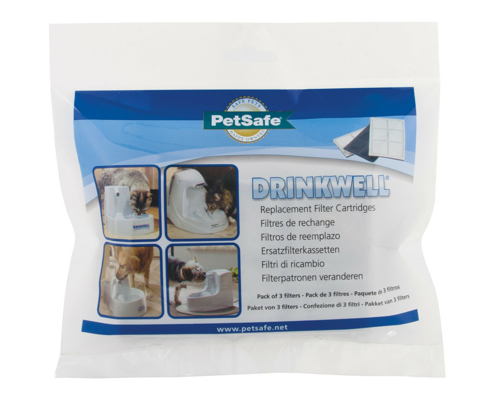 3 Pack Of Genuine Drinkwell Pet Cat & Dog Water Fountain Replacement Filters
