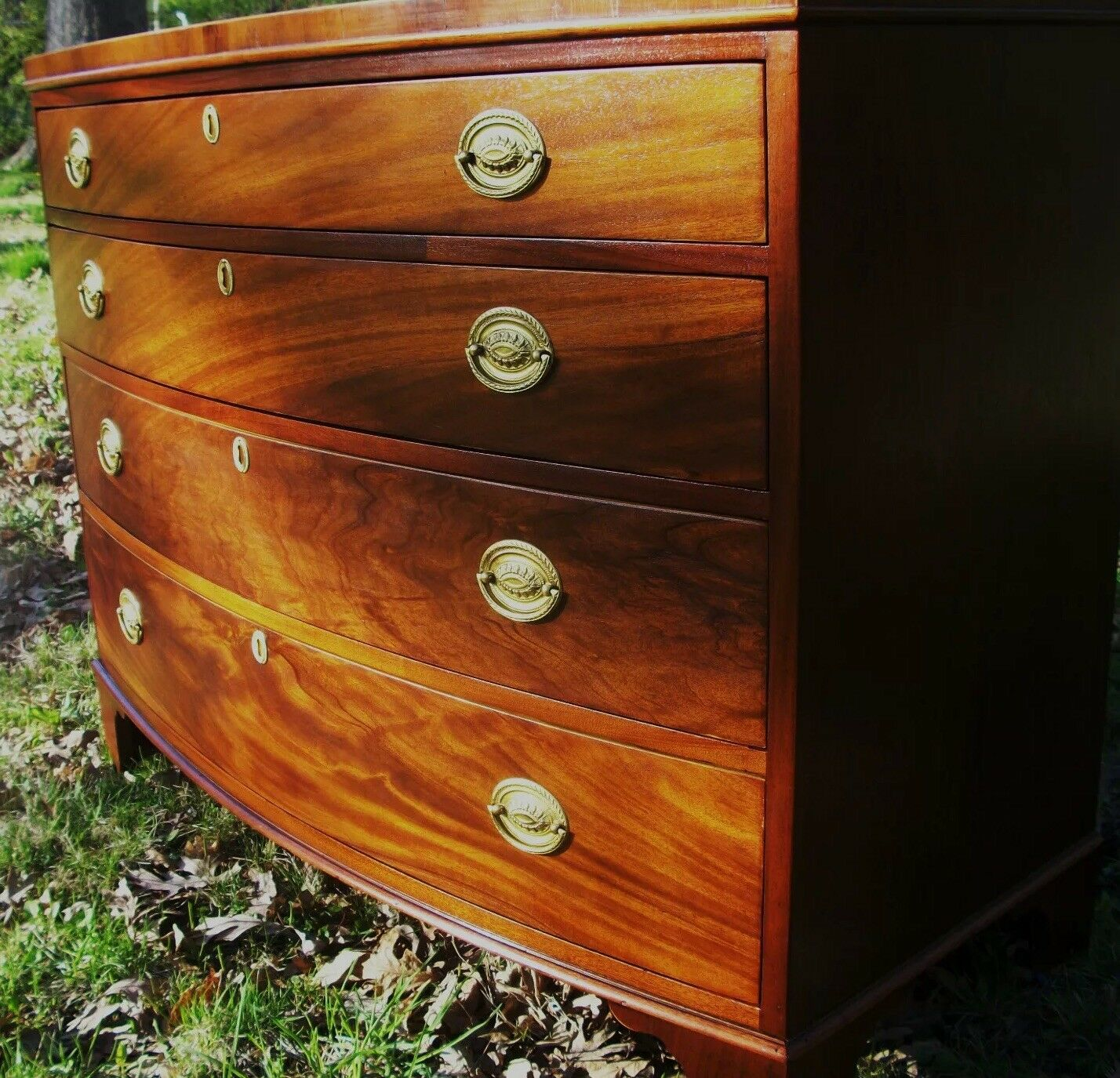 Baker Georgian Federal Chippendale Style Bowfront Mahogany Antique Chest Dresser 1 Of 12only Available See More
