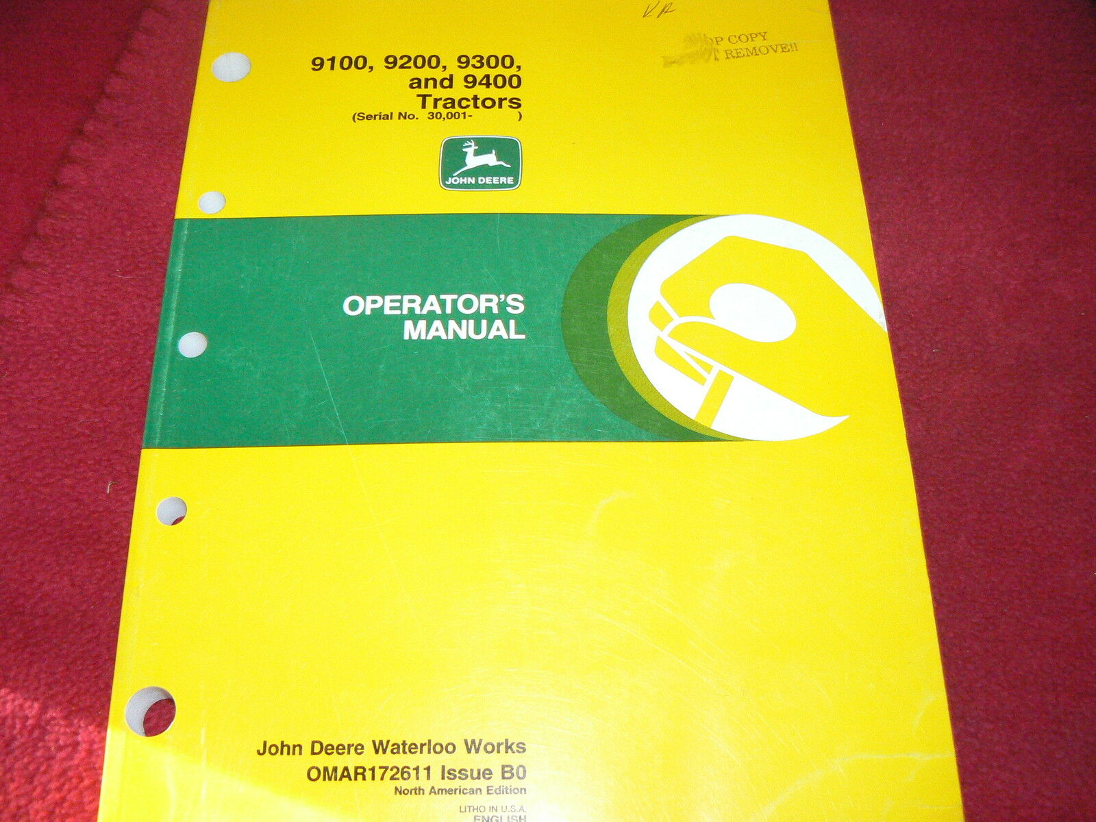 John Deere 9100 9200 9300 9400 Tractor Operator's Manual 1 of 1Only 1  available ...