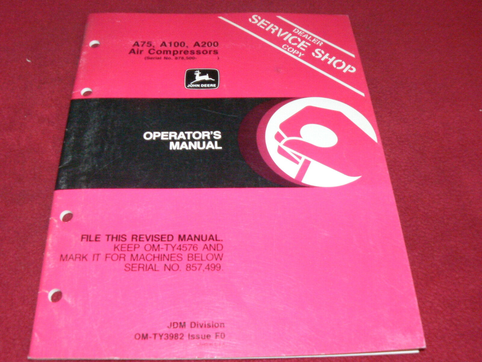 John Deere A75 A100 A200 Air Compressor Operator's Manual 1 of 1Only 1  available ...