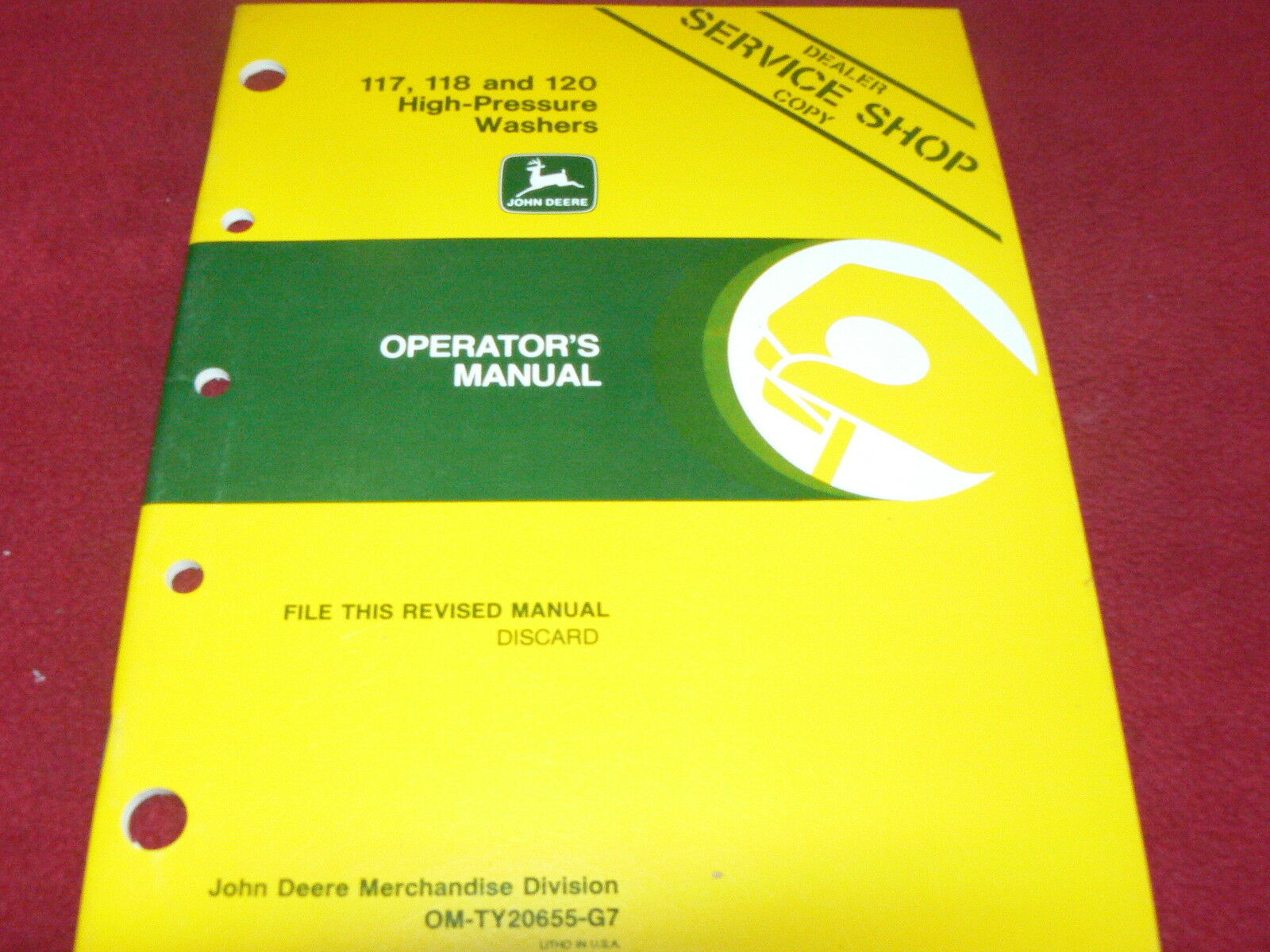 John Deere 117 118 & 120 High Pressure Washer Operator's Manual 1 of 1Only  1 available ...