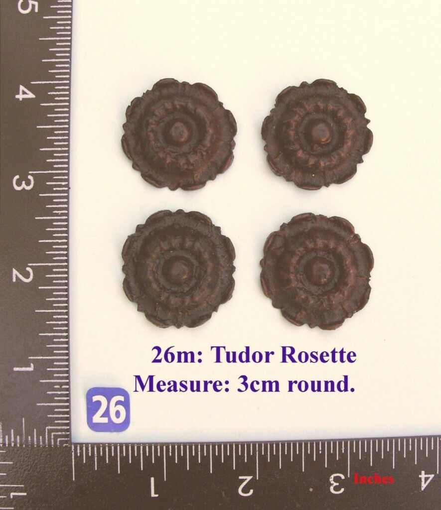 "TITLE: 26M ""4 Circular rosettes"" clock case / furniture DIY"