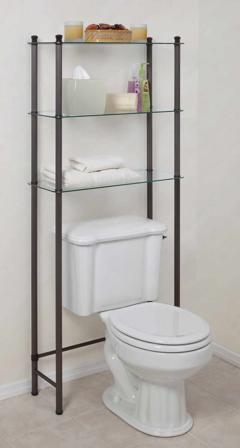 L 39 etagere over toilet space saver 3 shelf tempered glass - Etagere toilette ...