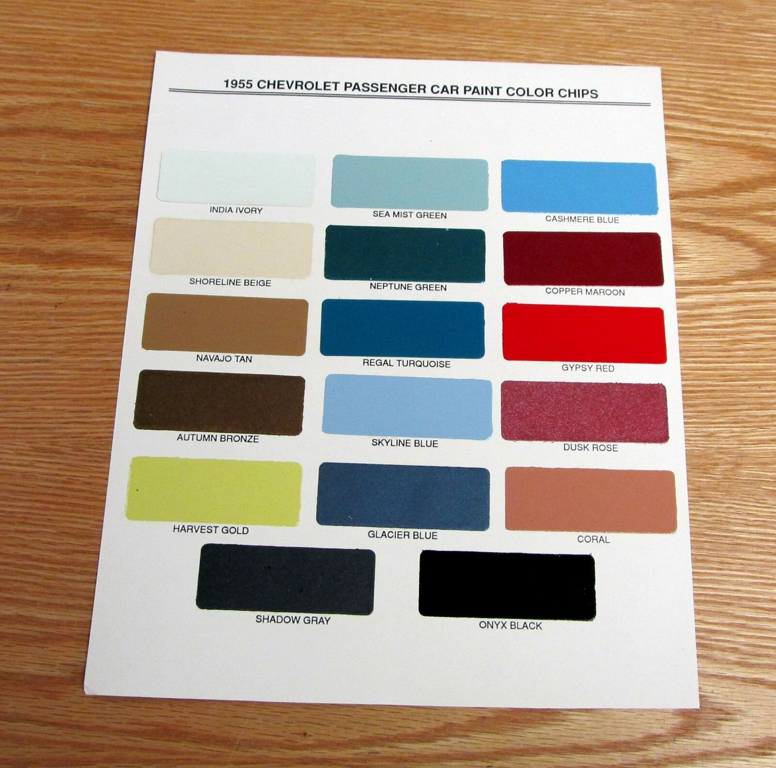1955 Chevy Paint Chip Chart All Original Colors Usa Made 1954 Chevrolet Truck 1 Of 2free Shipping