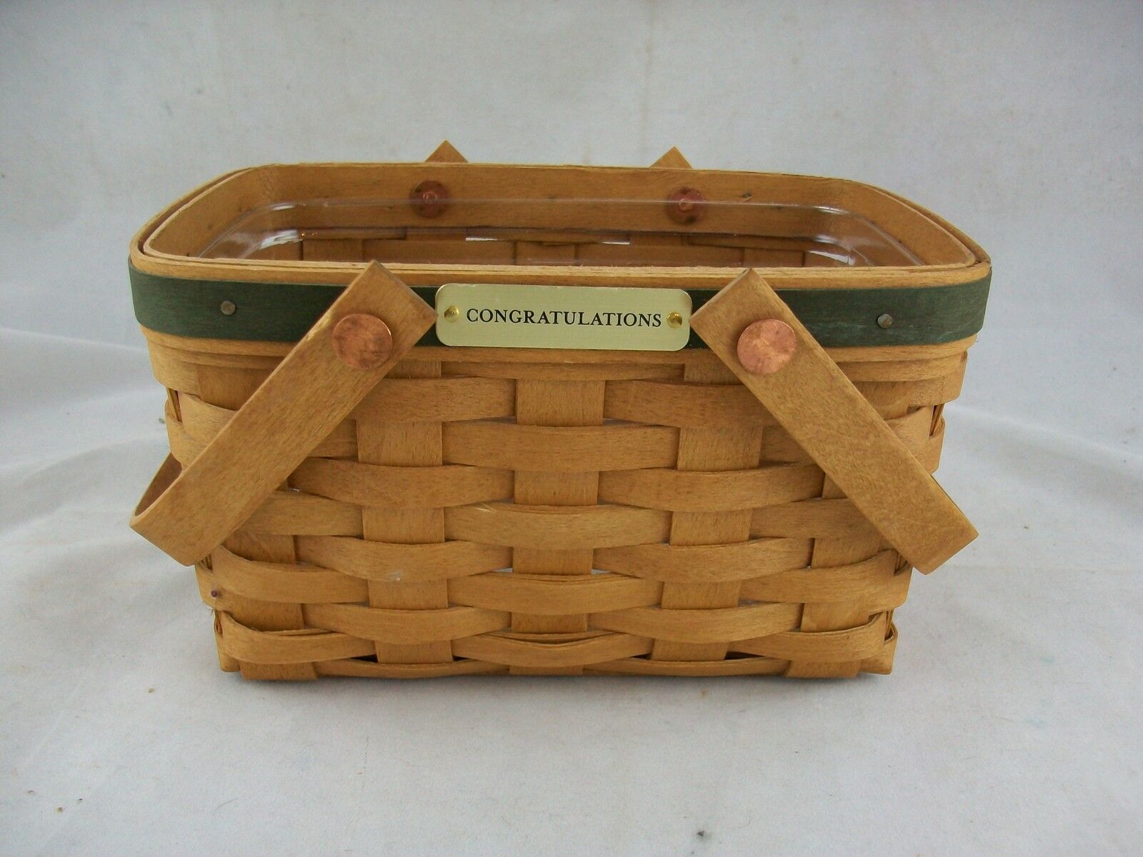 Longaberger 2002 little market basket w protector green Longaberger baskets for sale