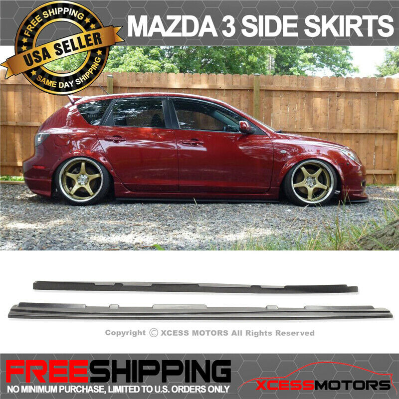 Fits 10 13 mazda 3 ms jdm poly urethane side skirts add on kit black 1 of 4free shipping see more publicscrutiny Images