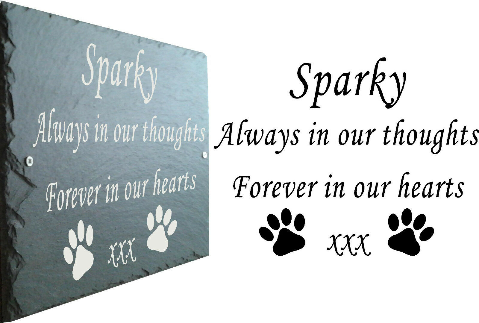 Pet Memorial Sign Slate Plaque - Personalised to your requirements 25cm x 18cm