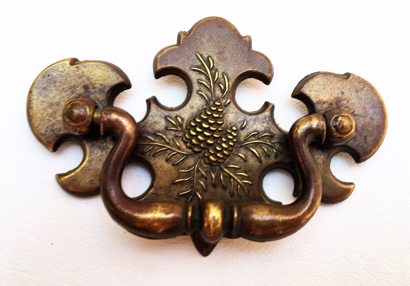 Brass Antique Hardware Vintage Chippendale Drawer Pull 2 1/2 center Rustic Cabin