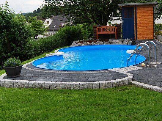 Pool acht formbecken 525x320x150 cm komplettset for Poolumrandung achtformbecken