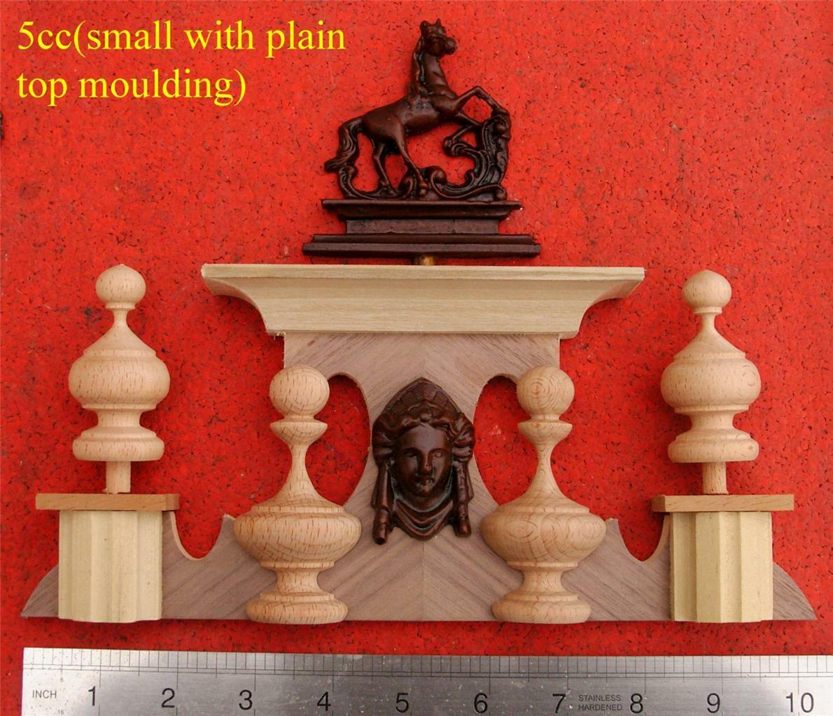 5CC(Small with plain moulding) Replacement Vienna wall clock top, 10  inchs long