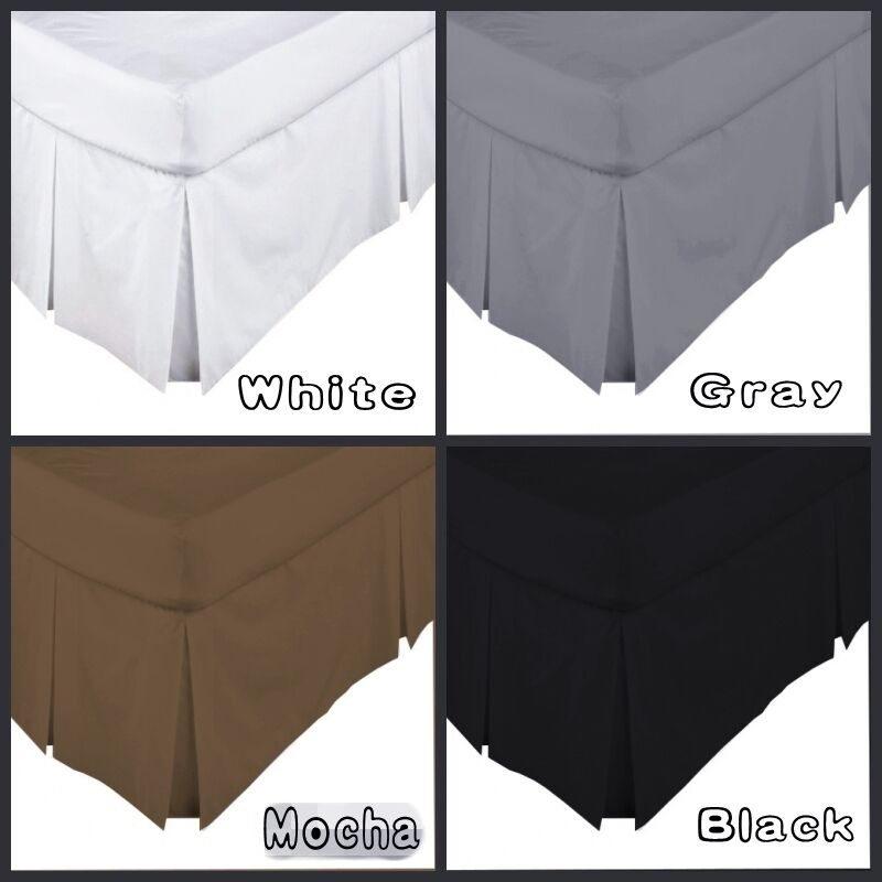 4 colors 5 sizes box pleated valance bed skirt 250 thread count percale new aud. Black Bedroom Furniture Sets. Home Design Ideas