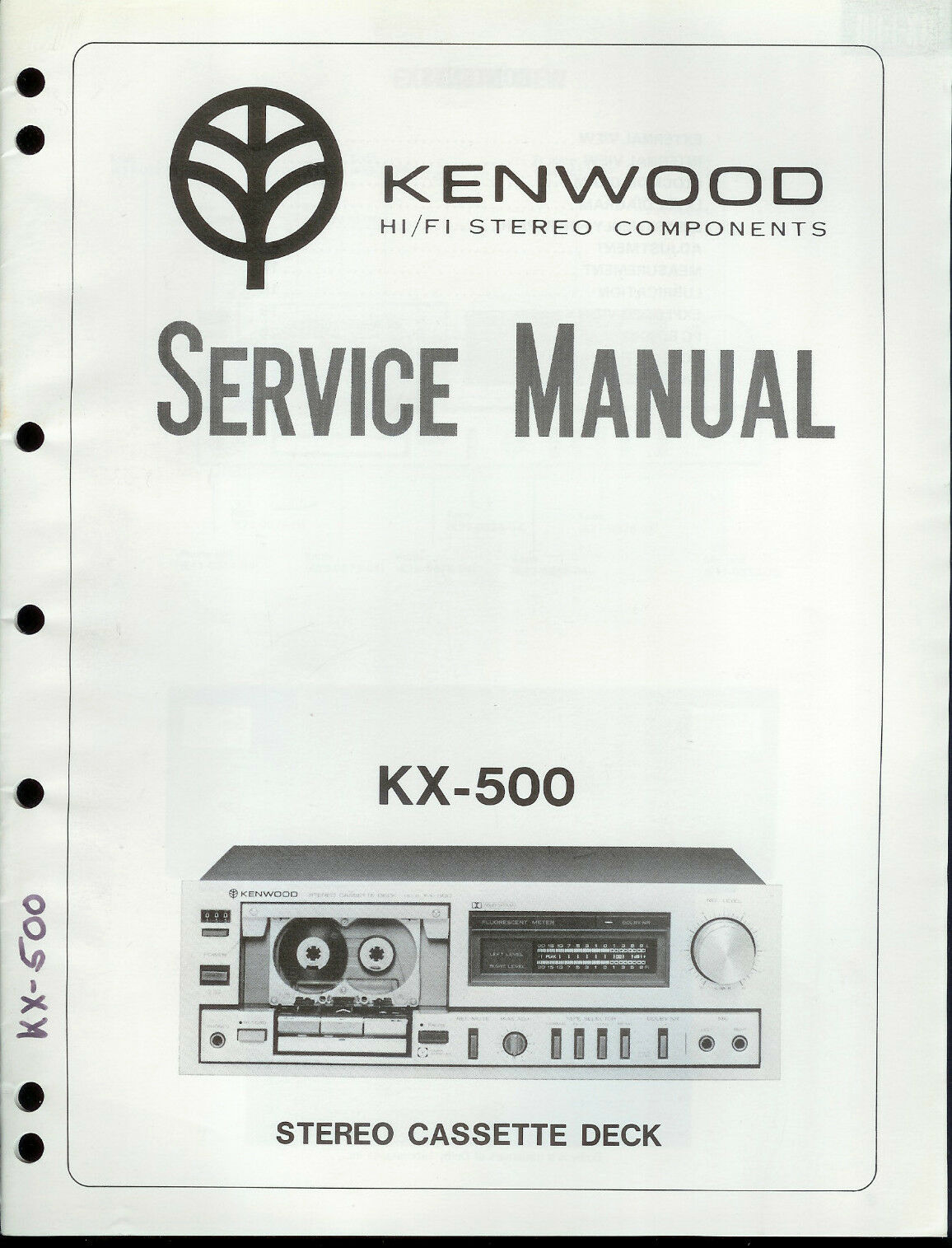 Original Factory Kenwood KX-500 Cassette Deck Service/Repair Manual 1 of  1Only 1 available ...