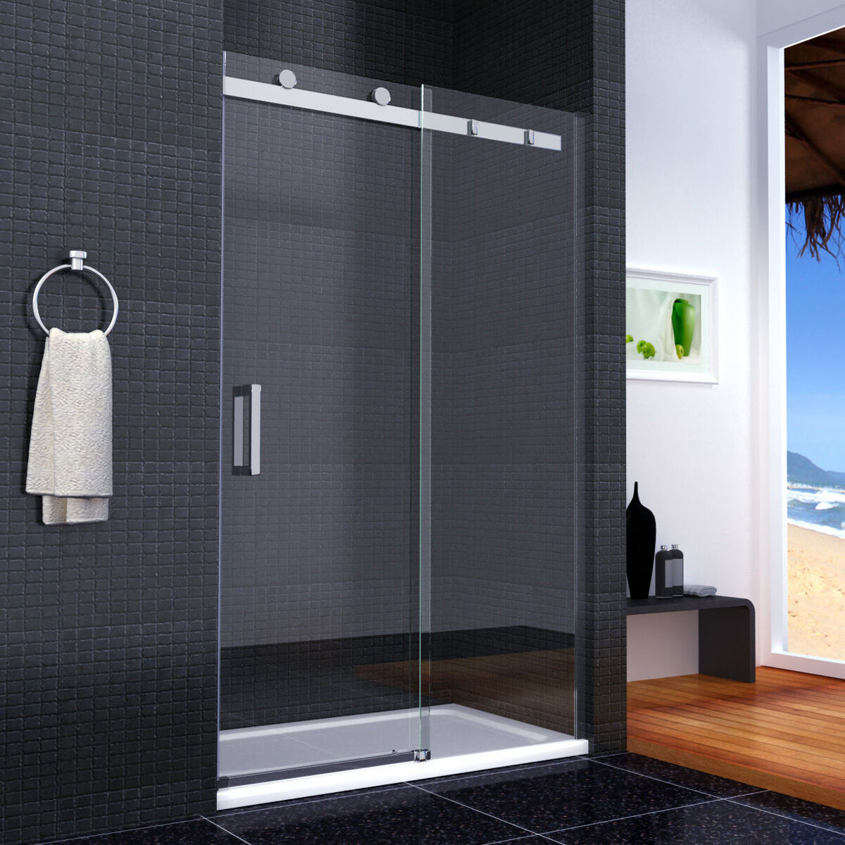 duschabtrennung duschwand walkin dusche 8mm glas schiebet r nischent r 120x195cm eur 353 99. Black Bedroom Furniture Sets. Home Design Ideas