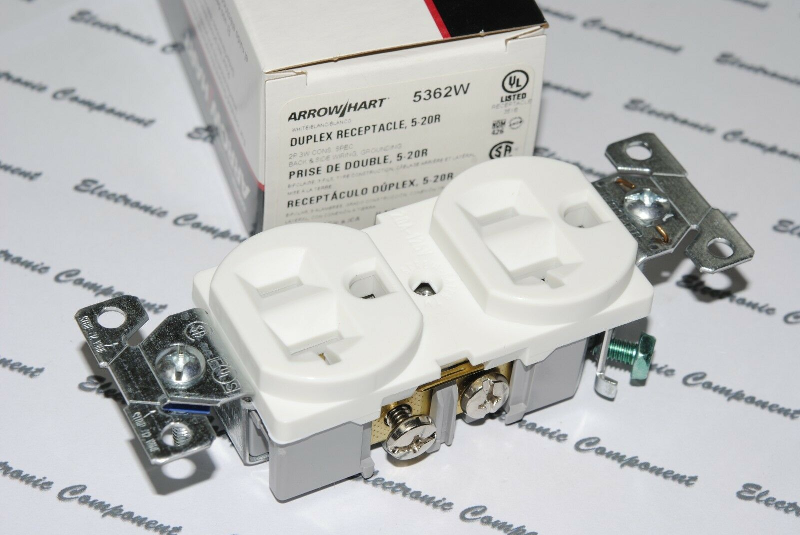 1pcs Cooper Wiring 5362w Construction Grade Duplex Receptacle 20a Two Outlets Double 125v Outlet