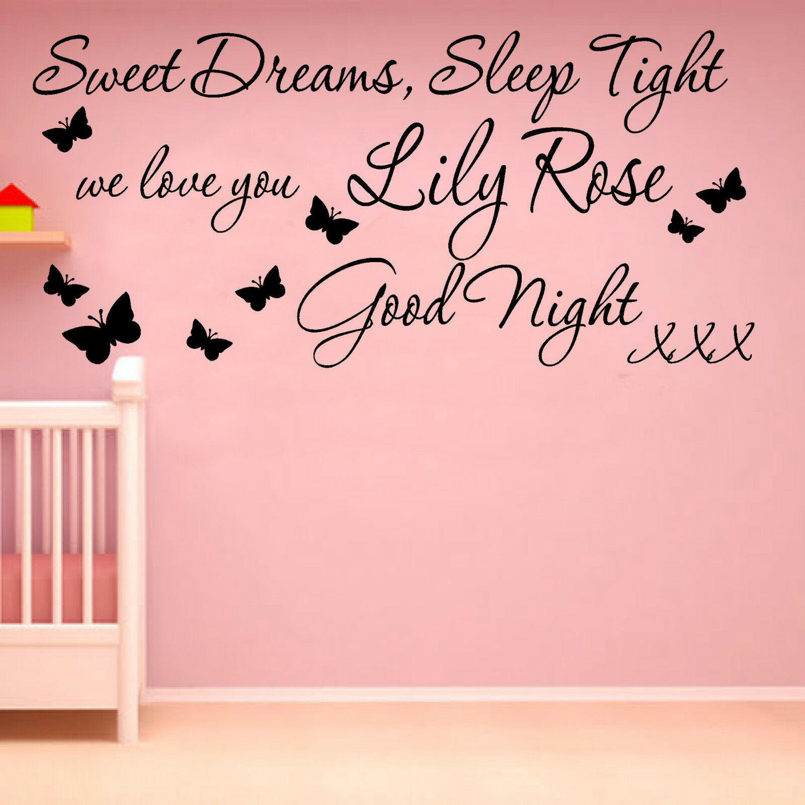 sweet dreams wall art sticker quote butterflies girls bedroom