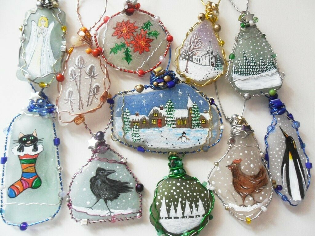 hand painted sea glass christmas tree decorations reindeer snowman robin holly
