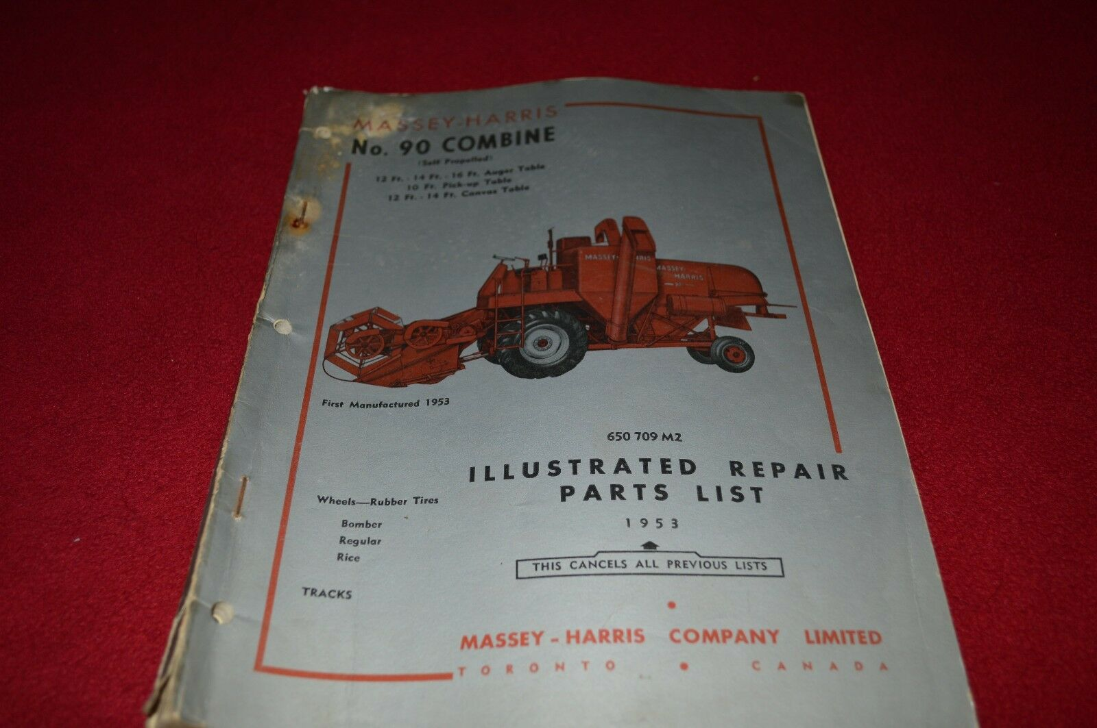 Massey Ferguson Harris No.90 Combine Dealer's Parts Book Manual RWPA 1 of  1Only 1 available ...