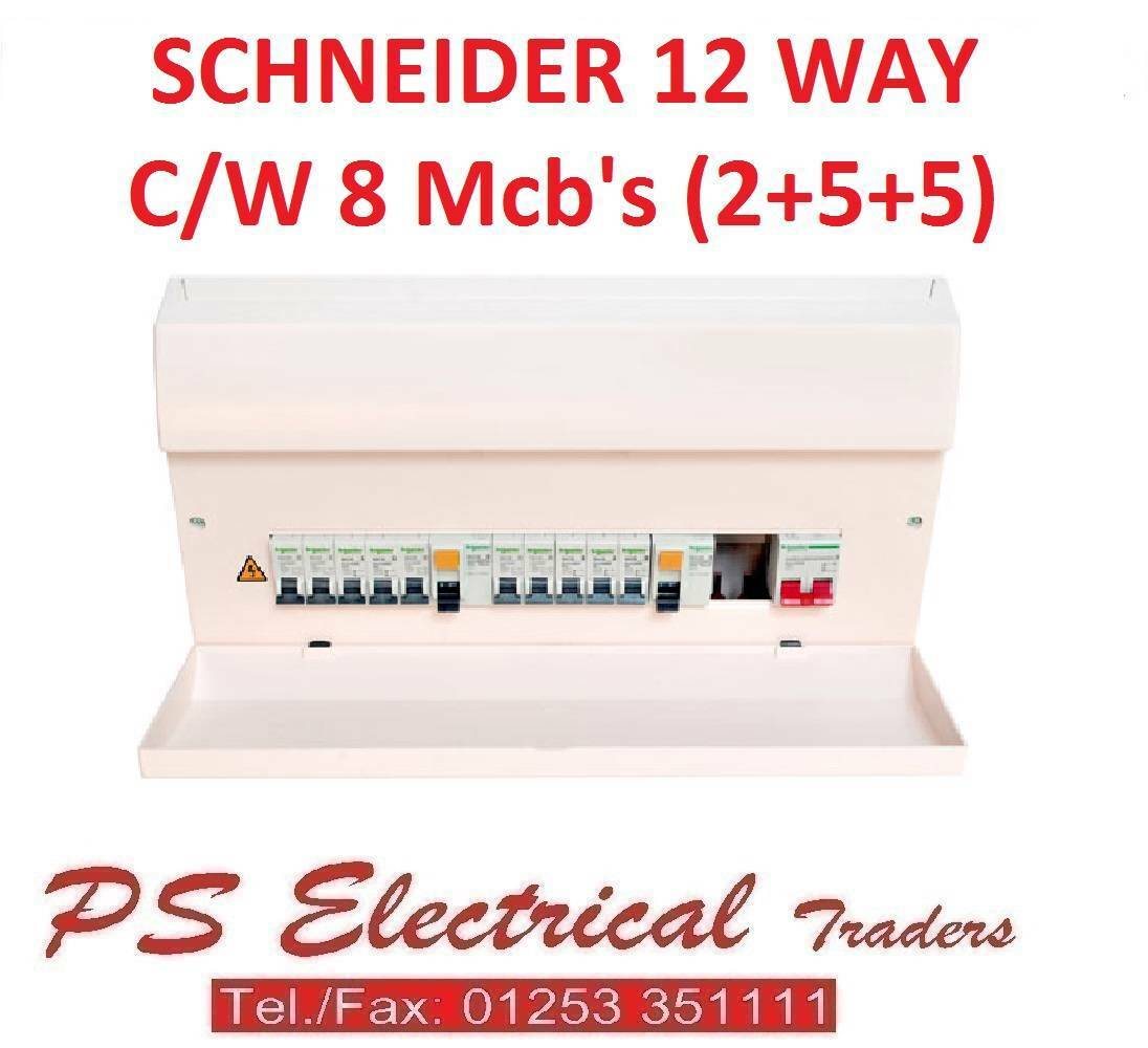Schneider 17th Edition 12 Way High Integrity Dual Rcd Consumer Unit Wiring C W 8 Mcbs 1 Of 1only Available See More