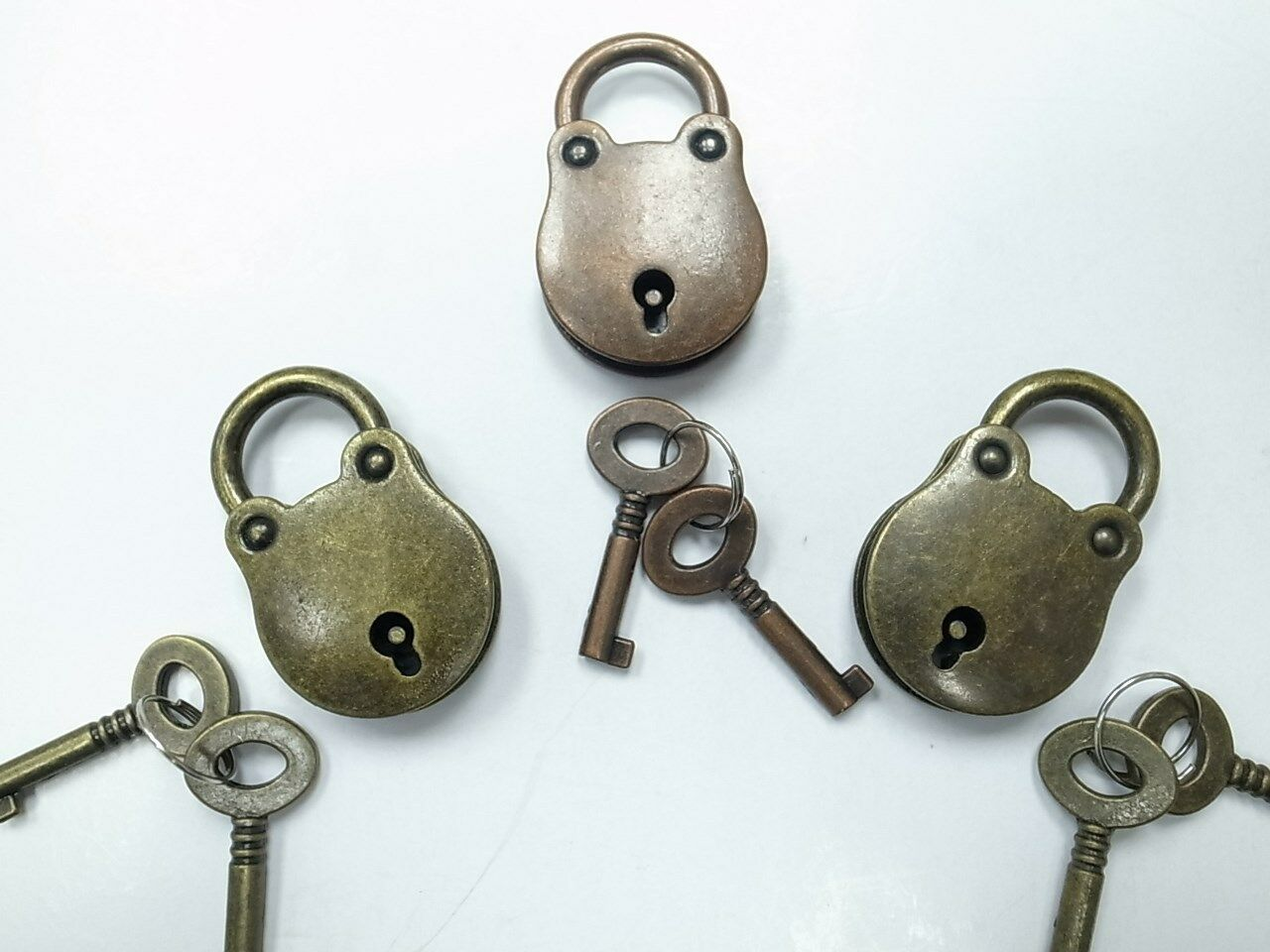 Old Vintage Antique Style  Padlocks With Keys - 3 pcs