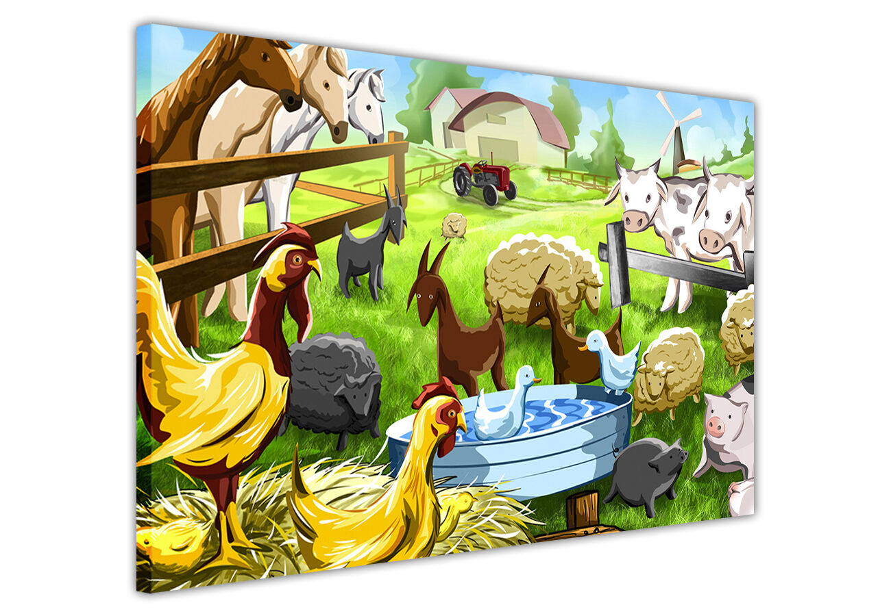 A126 White Farm Animals Collage Funky Animal Canvas Wall Art Large Picture Print