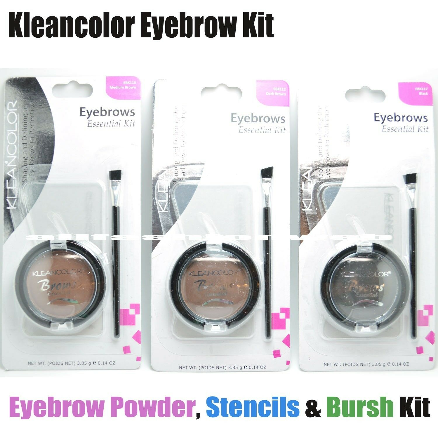 1 Kleancolor Eyebrow Kit 3 Eyebrows Stencils Powder Brow Pomade Brush Of 2free Shipping See More