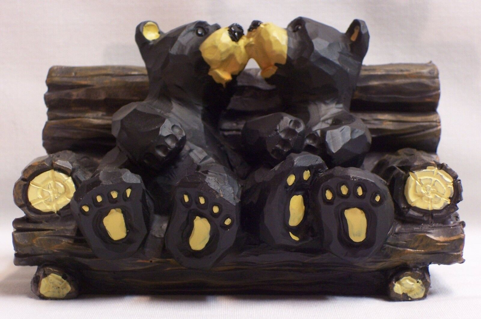 Kissing black bears on log chair wildlife rustic home for Rustic bear home decor