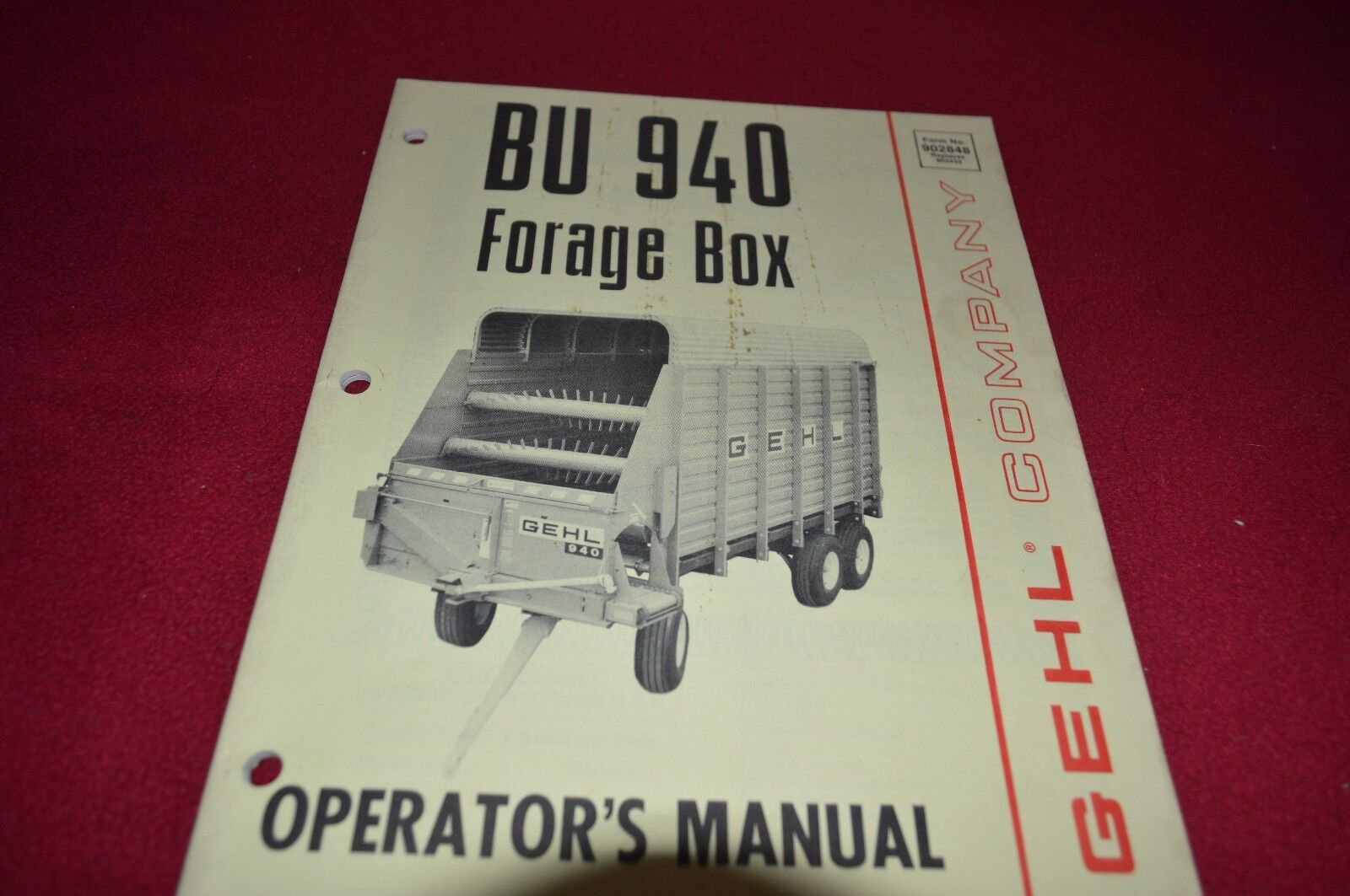 Gehl BU 940 Forage Box Wagon Operator's Manual BVPA 1 of 1Only 1 available  ...