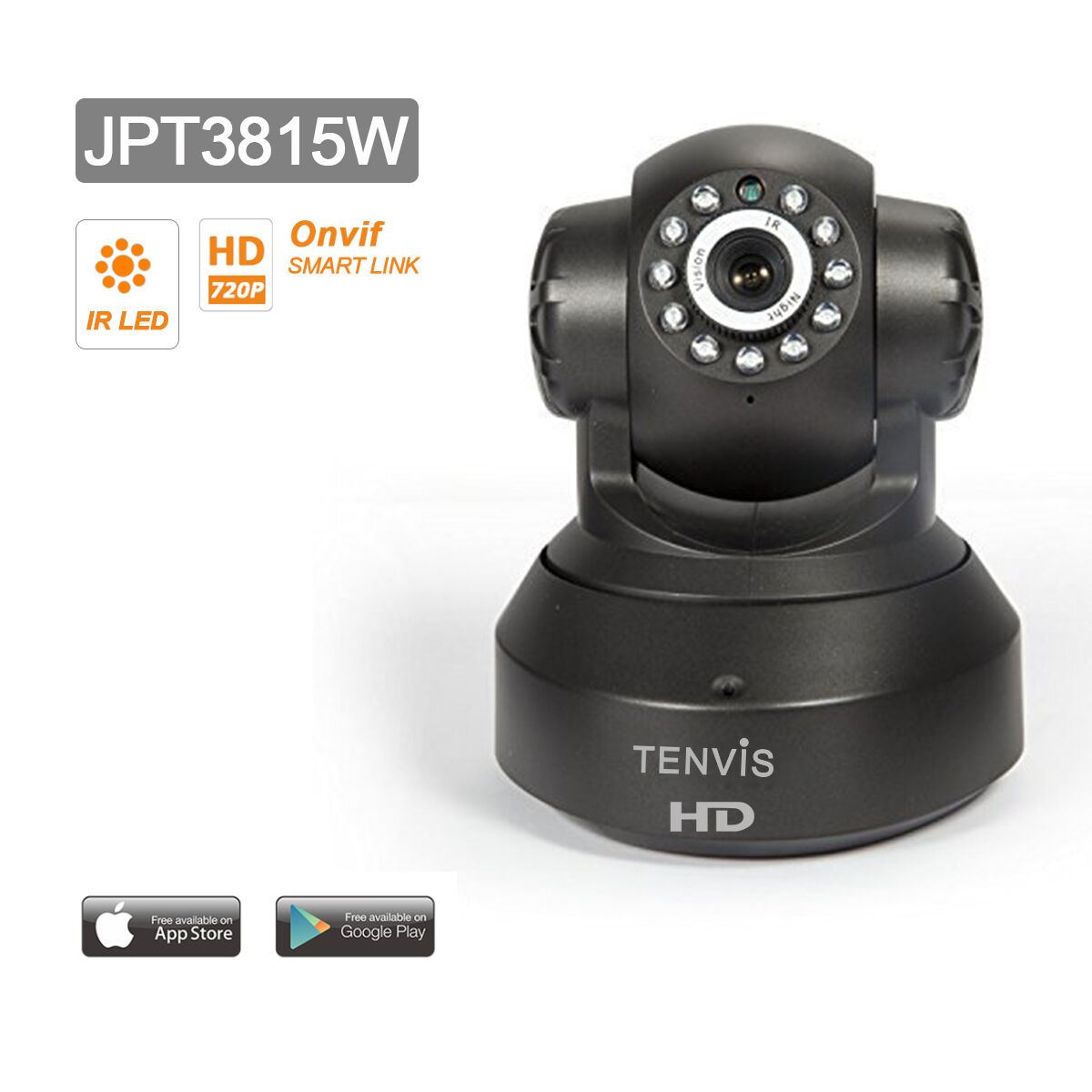 tenvis jpt3815w cctv pt ip cam ra de surveillance infrarouge wifi sans fil noir. Black Bedroom Furniture Sets. Home Design Ideas