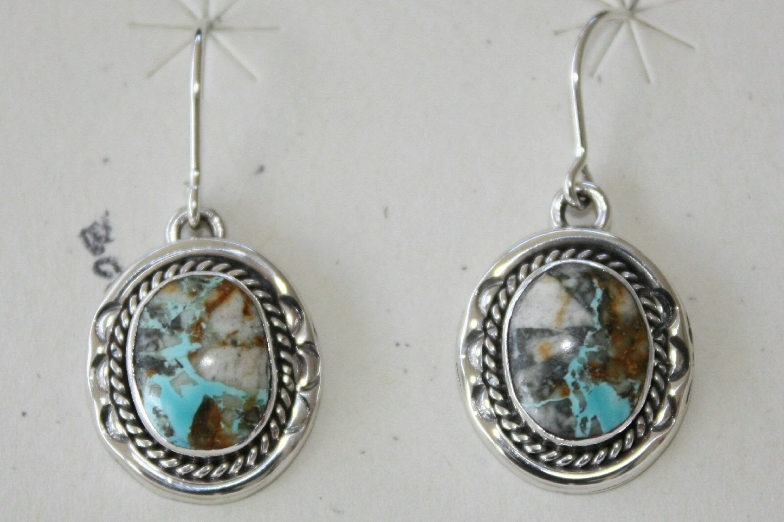 Signed Navajo Made Sterling Silver Boulder Turquoise Earrings 1 Of 5only Available See More