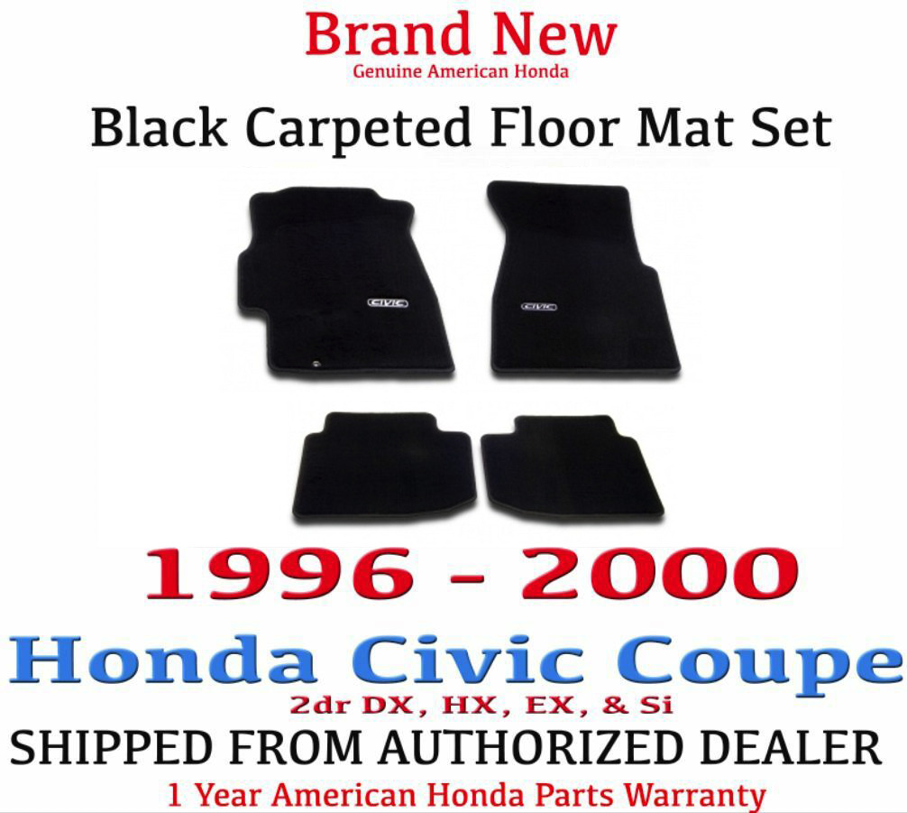 Genuine Oem Honda Civic 2dr Black Carpeted Floor Mat Set 96 00 08p15 2002 Crv Parts S02 1 Of 2