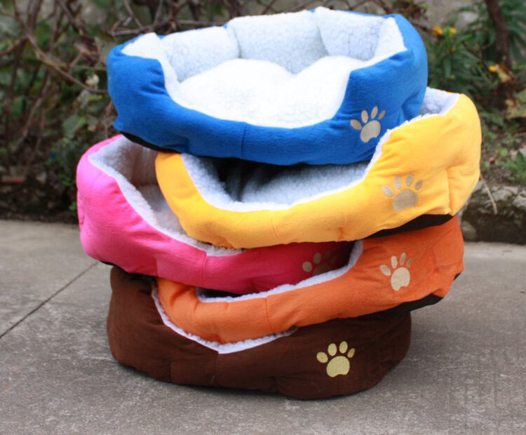 Soft Fabric Washable Dog Pet Warm Basket Bed with Fleece Lining Pad +FREE PILLOW
