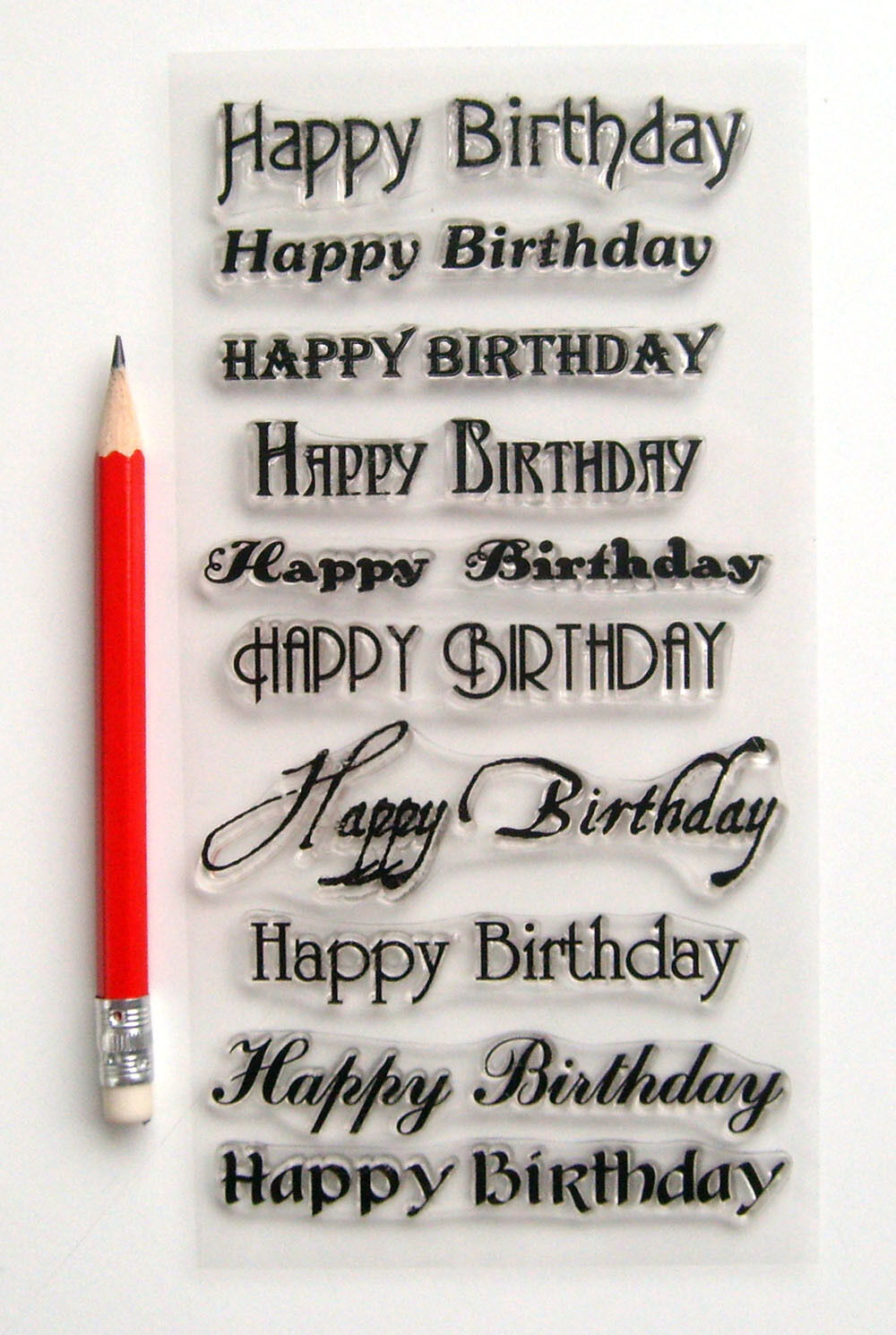 Clear Stamps Lot 4x7 Happy Birthday Greetings Wishes Words Flonz