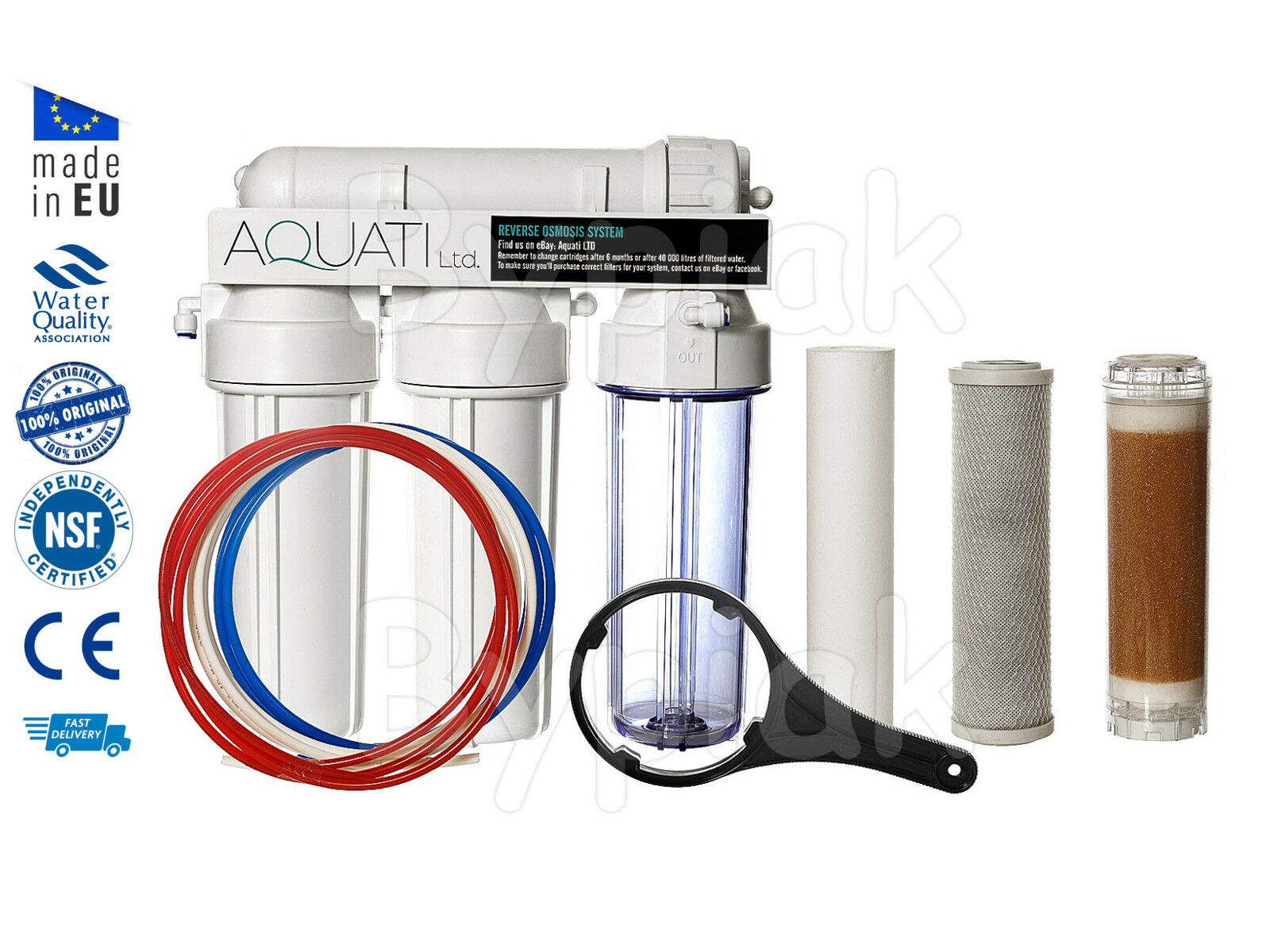 New 4 Stage RO water filter Reverse Osmosis system with DI resin chamber 50 GPD