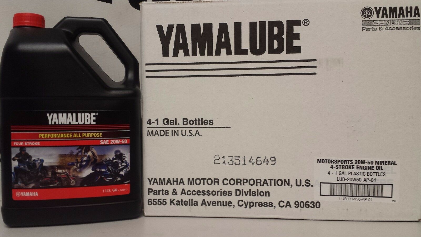 Yamalube 20w50 4 Gallon Case Of Yamaha Oil 20 W 50 Lub Ap 04 Sport Motor 1 5only 2 Available