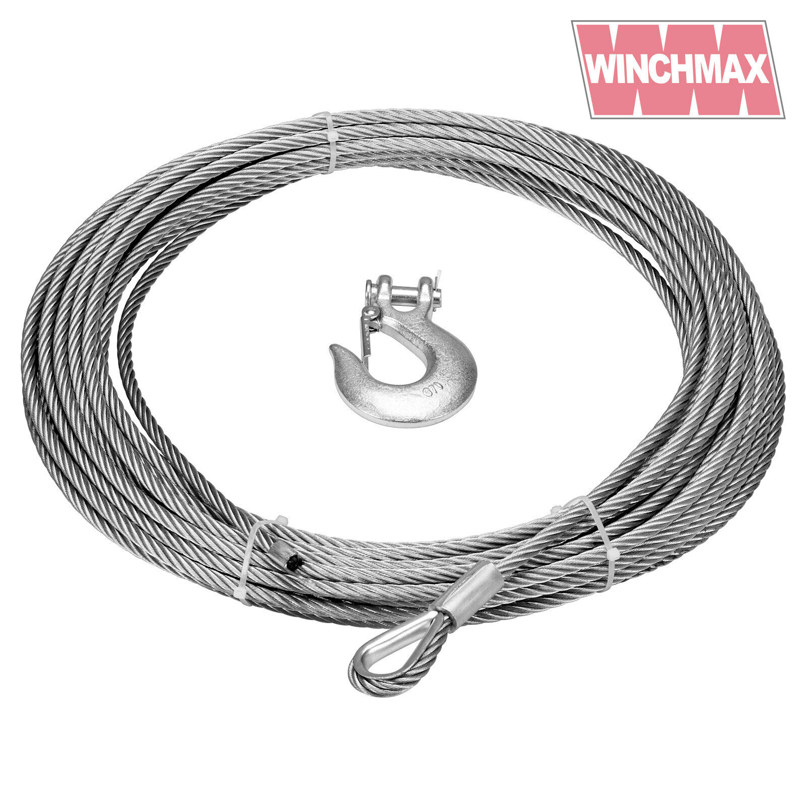 WINCH CABLE WIRE Rope 15m x 9,5 mm suitible for winches up to 13,500 ...