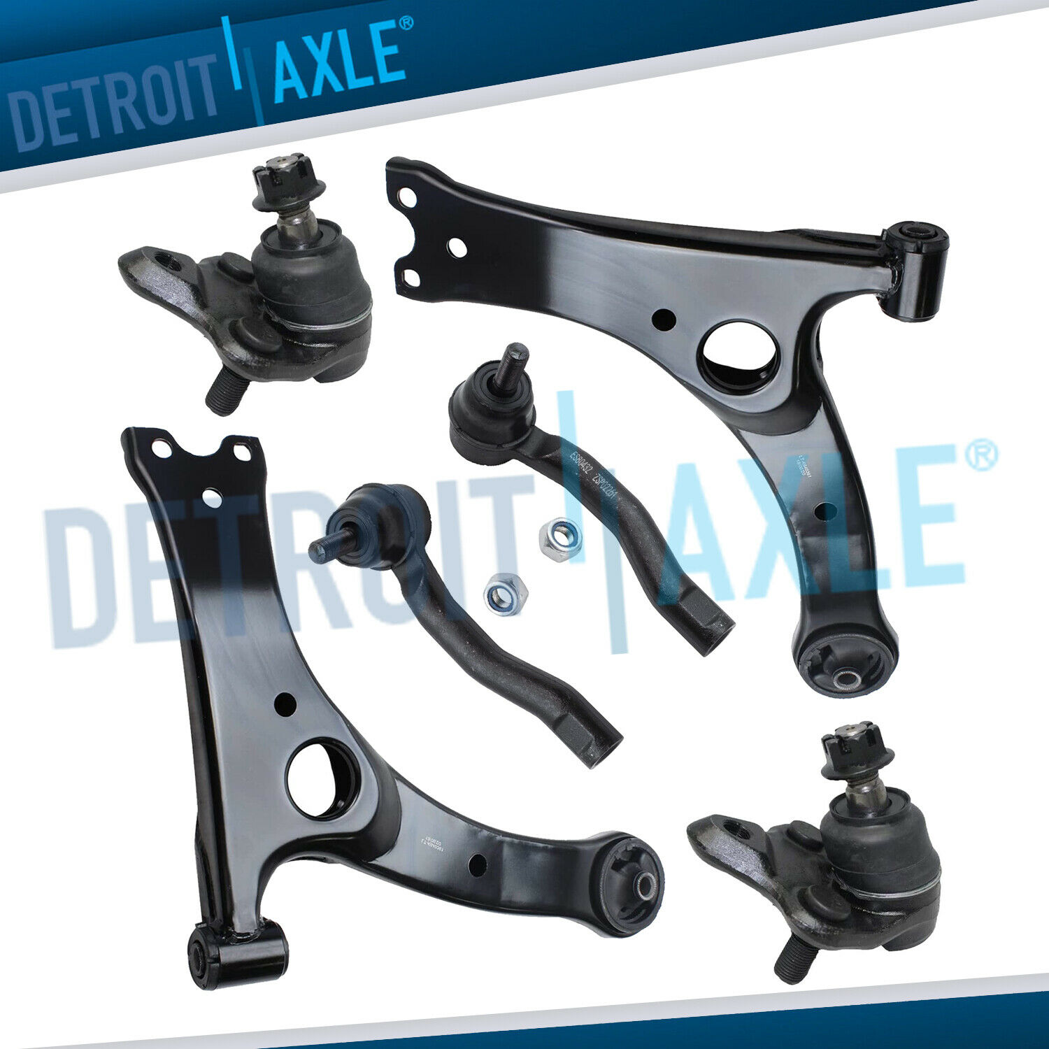 BOTH 2 FRONT Lower Control Arms w Ball Joints Outer Tie Rod Ends