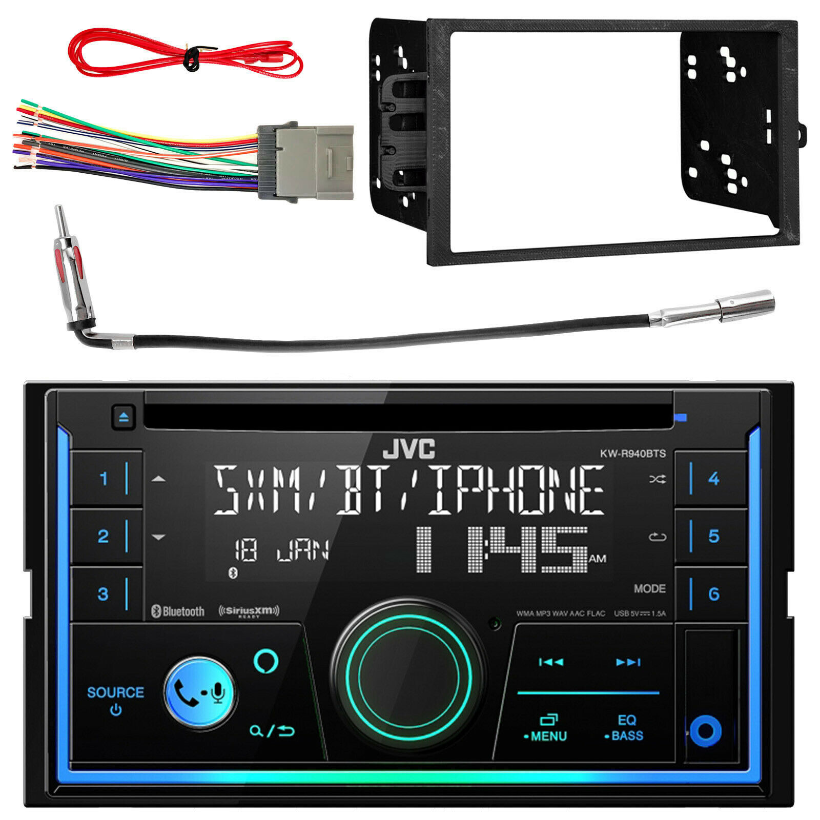 Kenwood Double Din Car Bluetooth Usb Cd Player W Install Mount Kit 1989 Saab Wiring Harness 1 Of 5free Shipping