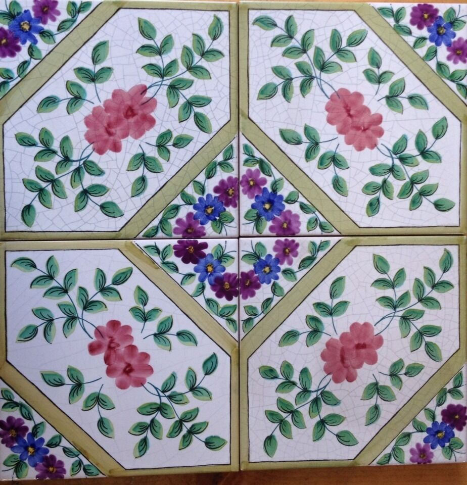4 pezzi piastrelle 20x20 decorate a mano con smalti - Piastrelle decorate a mano ...