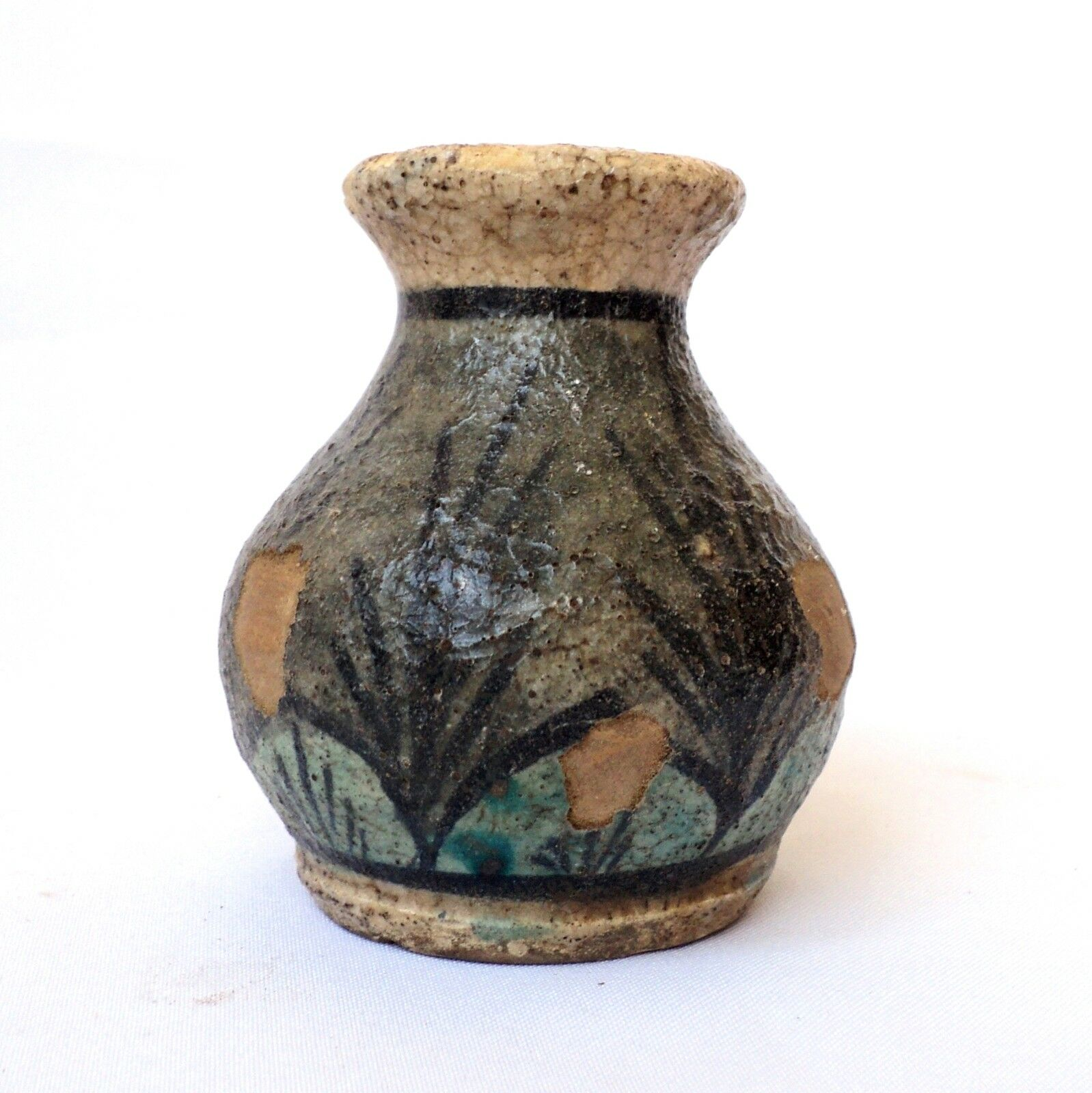 1700's,  Antique Persian Small Vase , Handpainted Ceramic Islamic Art